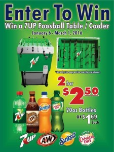 Win a 7UP FOOSEBALL COOLER